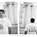 teenage boy in front of grain elevators wearing t-shirt that says Little White Lies, one image shows his front, one shows his back