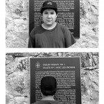 young teenage boy standing in front of a commemorative plaque the reads Indian Treaty No. 1