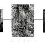 3 images: left on old woman standing outside, centre an old abandoned chair in the forest, right husked corn drying outside