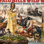 Toy figurine of traditionally dressed Indian man, holding feather in foreground, vintage poster of Buffalo Bill travelling Cowboy and Indian show in background