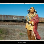 Toy figurine of Indian man in traditional dress and wrapped in red robe in foreground, railway cars and brush field in background