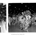 2 images, left head shot of young aboriginal man in traditional powwow attire, right same man dancing inside in front of a crowd