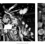 2 images, left profile shot of middle-aged aboriginal man in traditional powwow attire smoking a pipe, right head shot of same man