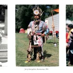 3 images of a middle aged aboriginal man, left in regular clothing leaning against a car, centre full body shot of him in traditional powwow attire, right image of him performing