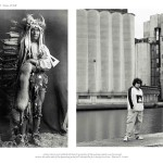 2 images, left archival image of older Indian man in traditional attire, right of young Aboriginal teen in contemporary attire in front of concrete grain stacks