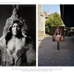 two images, left archival photograph of older Indian man in fur suit, right contemporary poster in cobble stoned street of that same man
