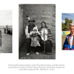three images, left archival image of Indian family in turn of the century period clothing in front of fence and old buildings, centre Indian couple with baby in traditional attire, right picture of contemporary Aboriginal family with two teenage girls and father all dressed in powwow attire