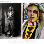 2 images, left Edward S. Curtis photograph of old man wrapped in a hide, right, headshot of young aboriginal man in regalia with face painted in red and yellow designs on his left side