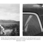two images, left an archival photograph of Indian man on with headdress on horse drinking from river, right image of the back door and hood of a car with a sticker of an Indian man in headdress and the words Matador on the car