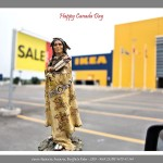 Toy figurine of Indian man in traditional attire in foreground, IKEA store and empty parking lot in background
