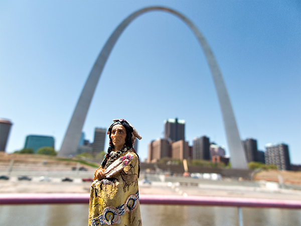 Indian figurine on Mississippi river an