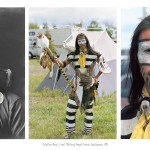 3 images, left portrait by Edward Curtis of man in traditional Indian attire, centre full body shot of young aboriginal dancer in full regalia with tents in background, right headshot of same man his face painted with a white black band mask across his eyes