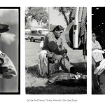 3 images, vintage photograph of man in traditional Indian attire, centre middle-aged aboriginal man getting into his regalia while sitting in front of the open doors of the back of his van, right same man in full regalia performing inside