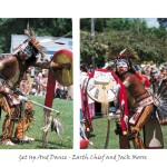 6 images, left vintage photograph of man in traditional Indian attire, centre images of young aboriginal man in full regalia perfomring, right image of same man posing in regular clothing outside a tent