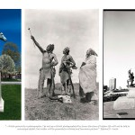 three images, left image of metal statue of Indian man in traditional attire with arms outstretched and sitting on horse, centre image of 3 Indian man in traditional attire looking up into the sky, right image of monument with two statues one of man in classical European dress the other an Indian man in traditional attire kneeling below the other man