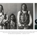 three images, left group of people gathering outside around a statue of a traditionally dressed Indian man, centre archival photograph of 3 Indian men in traditional attire, right image of 4 Aboriginal men with arms around each other and fooling around in front of camera
